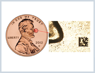laser marking micro data matrix codes on a copper penny